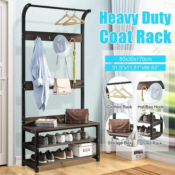 3 Tiers Portable Hall Tree Home Clothes Cloth Coat Rack Hanger Garment Shoe Storage Hat Hook