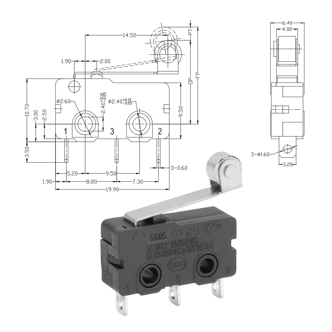 5 Pcs G606-150S06A Micro Limit Switch Roller Arm Subminiature SPDT Snap Action - image 2 of 3