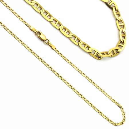 14K Yellow Gold  Flat Mariner Link Chain Necklaces Width 2mm 14k Gold Marine Link