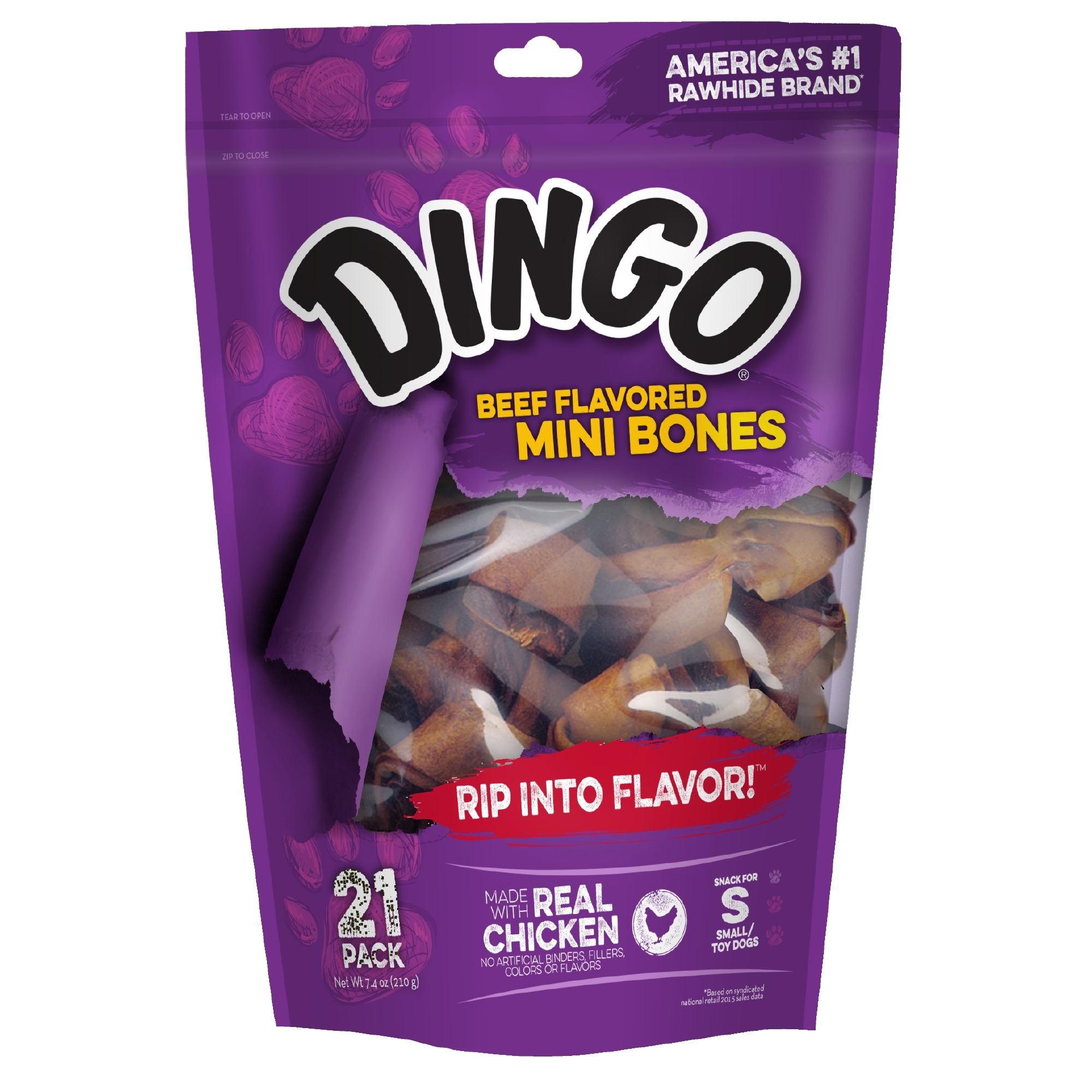 Dingo Beef Flavored Rawhide Mini Bones for Small Dogs, 21-Count