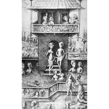Medieval Bathhouse Npen Drawing German Late 15Th Century Poster Print By Granger Collection