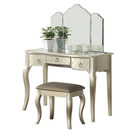 Bobkona Vanity table with stool set in Silver