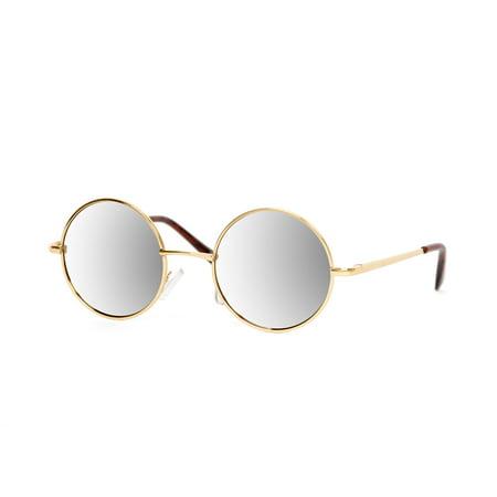 Circular Style Gold Frame Mirror Lens Sunglasses - Walmart.com