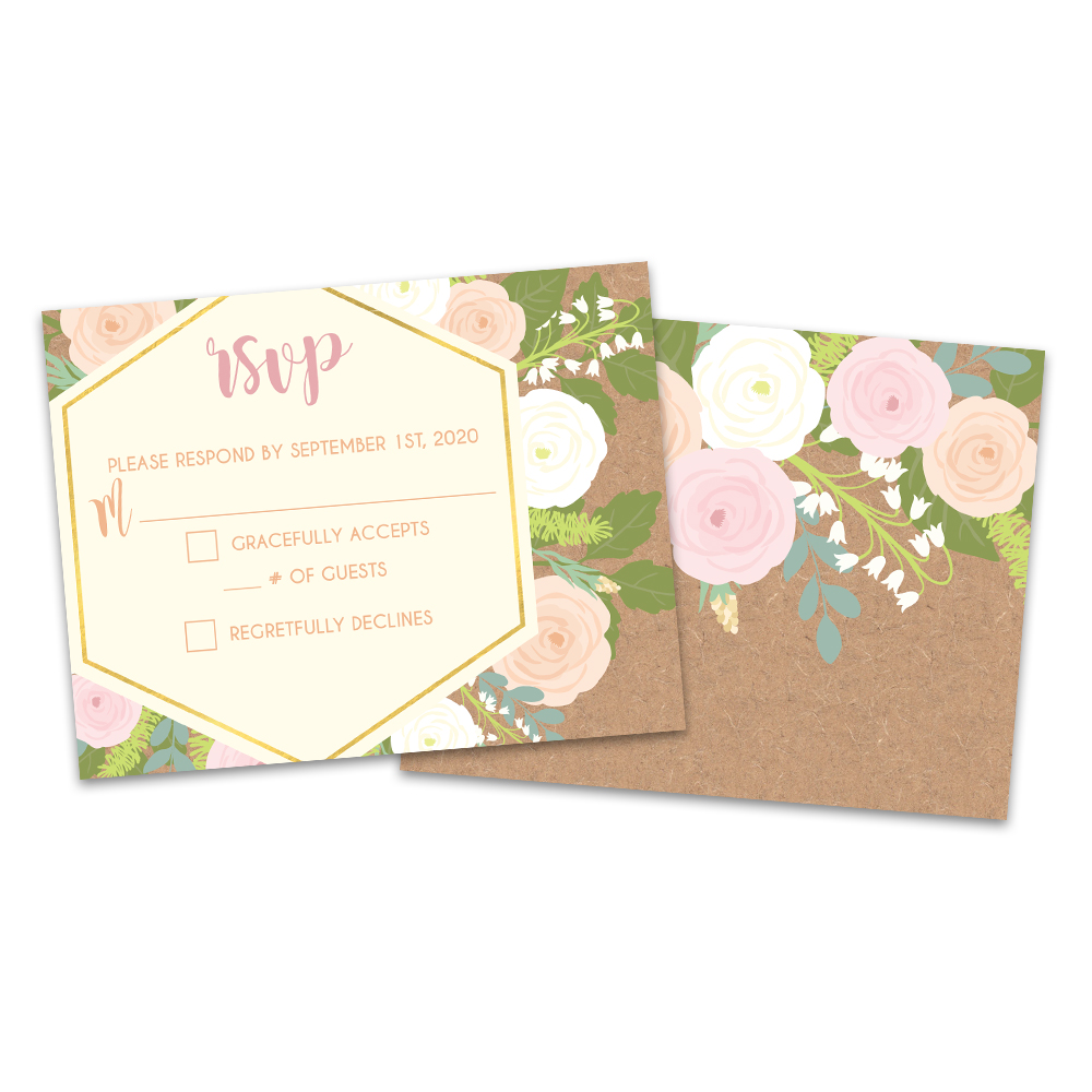 Personalized Floral Explosion Wedding RSVP Cards