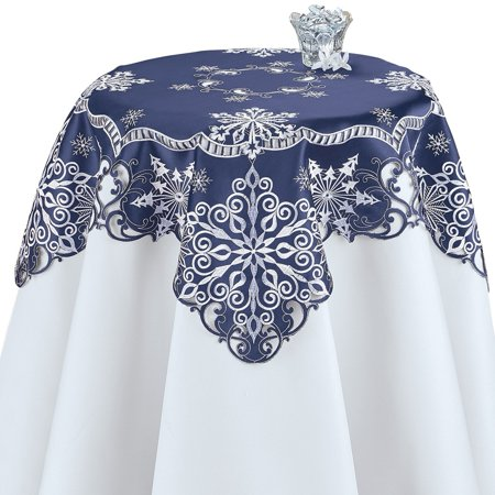 Elegant Snowflake Navy Blue Christmas Table Linens, Square