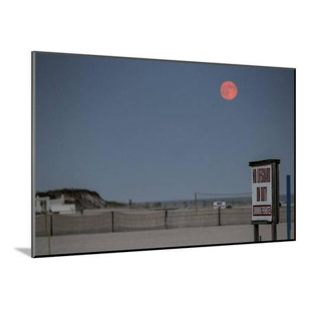 Super Moon and Lifeguard Sign Seen on Atlantic Beach on Long Island, NY Wood Mounted Print Wall Art (Long Beach Ny Halloween Events)