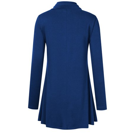 Missky Women's Long Sleeve Cowl Neck Pleated Casual Flared Tunic Top Blouse - image 2 of 8