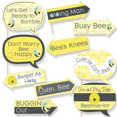 Funny Honey Bee - Baby Shower or Birthday Party Photo Booth Props Kit - 10 Piece - Party Photo Booth
