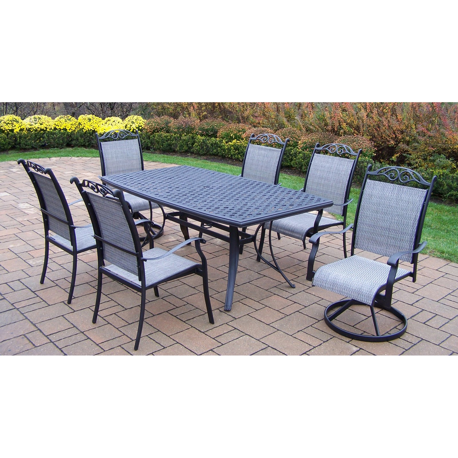 Oakland Living Cascade 7 Piece Sling Patio Dining Set with Boat Shape Table