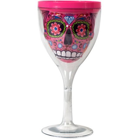 10 oz Pink Sugar Skull Wine Glass by