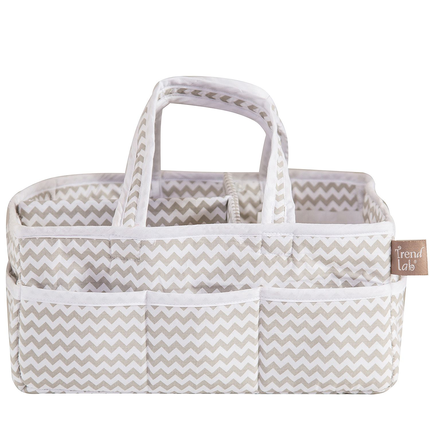 Trend Lab Storage Caddy, Dove Gray Chevron, Lightly padde...