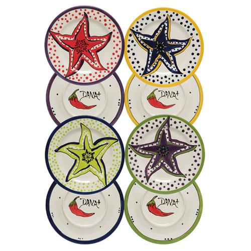 Thompson and Elm Dana Wittmann Coastal Starfish Handpainted Ceramic Plate (Set of 4)
