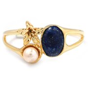 De Buman  14k Gold Plated Genuine Lapis, Created Turquoise or Created Red Coral Gemstone with Faux Pearl Cuff Bracelet