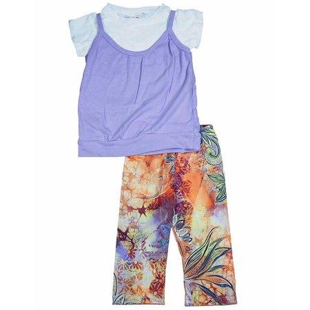 U Go Girl - Little Girls Short Sleeve Capri Set Lavender / 4/5