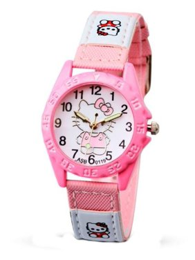 5c52d0db9 Product Image Hello Kitty Style Canvas Patch Light Pink Glow in the Dark  Hands Girls Kitty Watch,