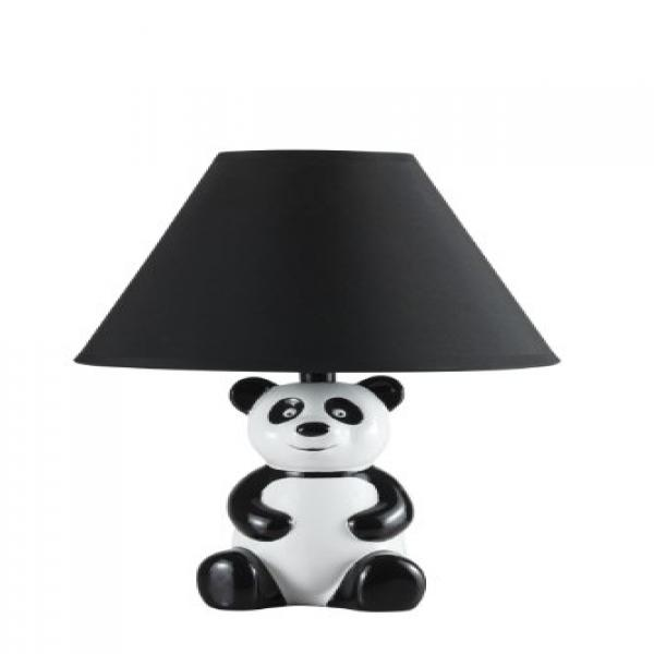 14 White and Black Novelty Panda Table  Desk Lamp with Black Shade 628BK by