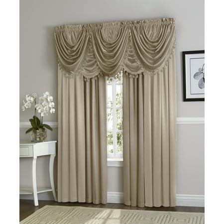 Hyatt Window Curtain & Fringed Valance Complete 9 Piece Window Treatment Set - Candlelight Ivory](Ball Fringe Curtains)