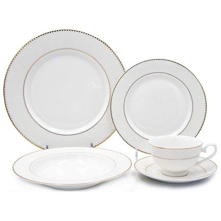 Royalty Porcelain Vintage White Dot Gold Rim 20-pc Dinnerware Set 'Pamela', Premium Bone China