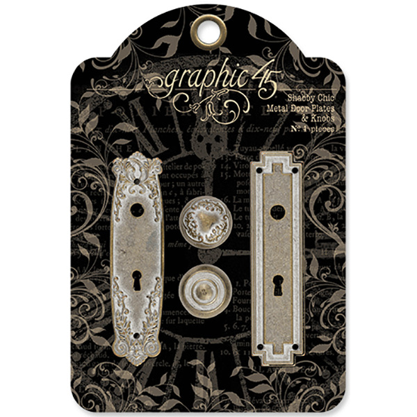 Staples Metal Door Plates with Knobs, 2 Sets, Shabby Chic