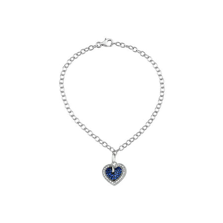 Blue Sapphire Crystal and White CZ Sterling Silver Heart Charm Bracelet, 8