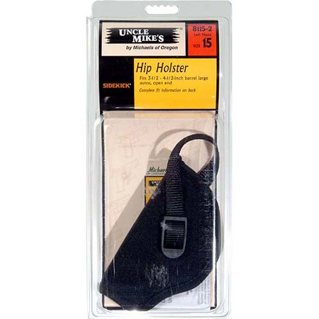 "UNCLE MIKES HIP HOLSTER 3-4.5"" BARREL LARGE AUTO, OPEN END NYLON BLACK"