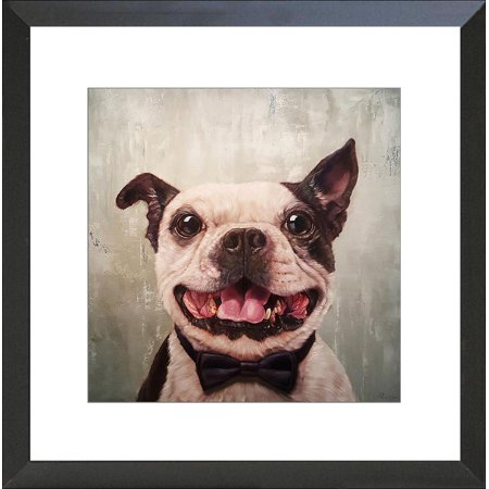 Buyartforless FRAMED A Black Tie Affair Grinning Dog by Lucia Heffernan 16x16 Boston Terrier Bowtie Art Print Poster Humor Matted