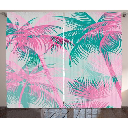 Palm Leaf Curtains 2 Panels Set Beach Party Theme Vibrant