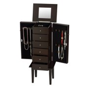 ViscoLogic Flip Top Mirror Wooden Floor Staning Jewelry Armoire - (Brown)