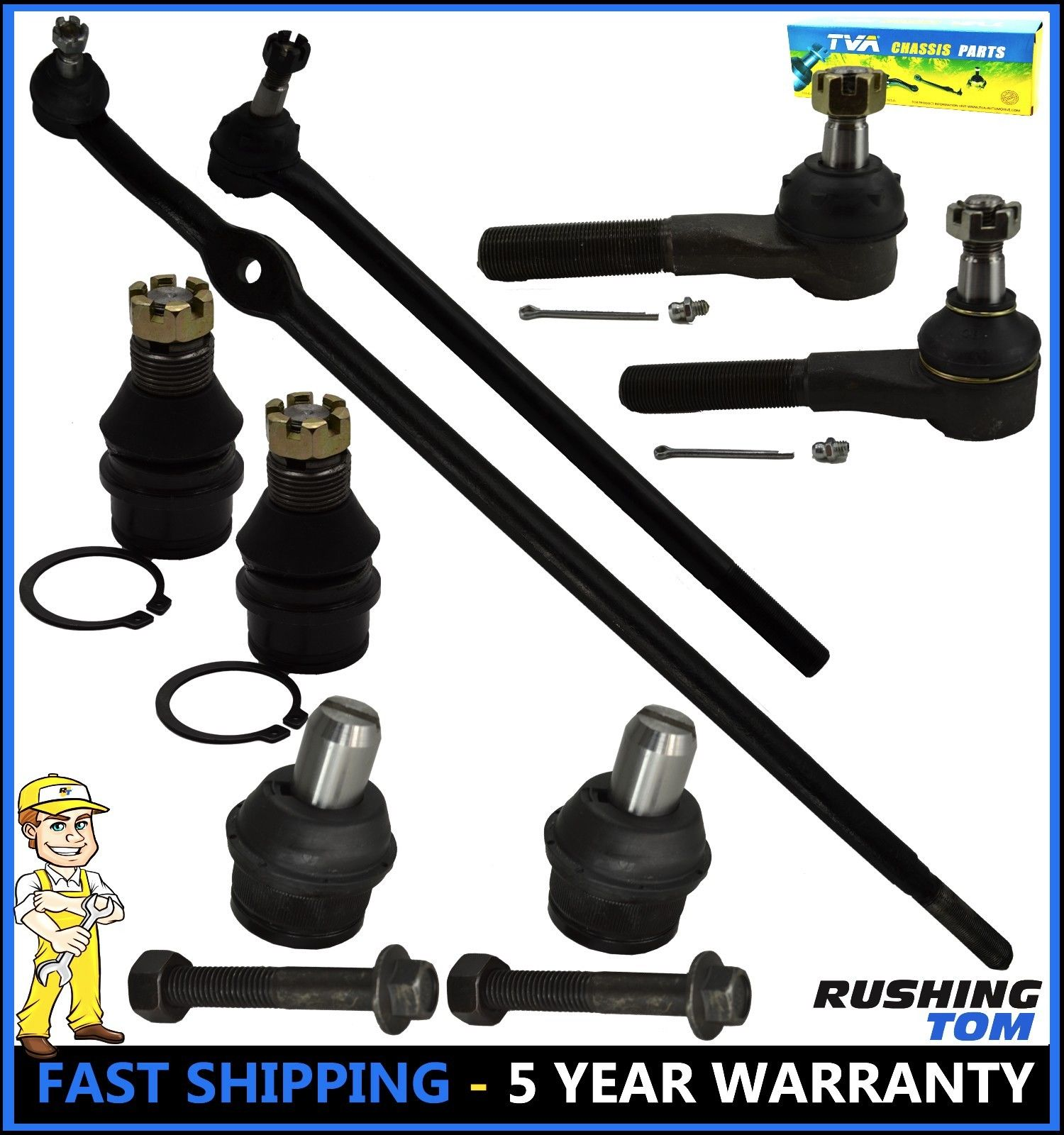 8 Pc Set Upper Lower Ball Joint Inner Outer Tie Rod End Ford F150 2WD RWD 87-96