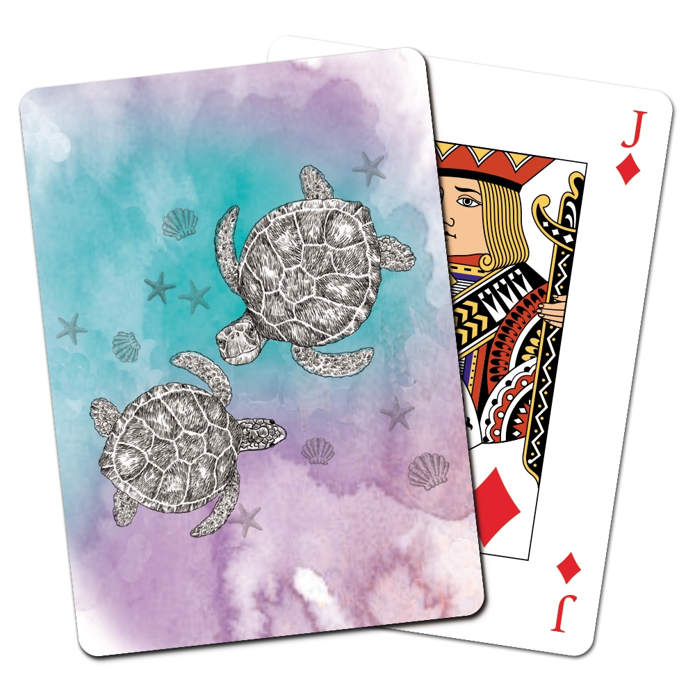 Tree-Free Greetings Boho Sea Turtle Playing Cards -CD15476