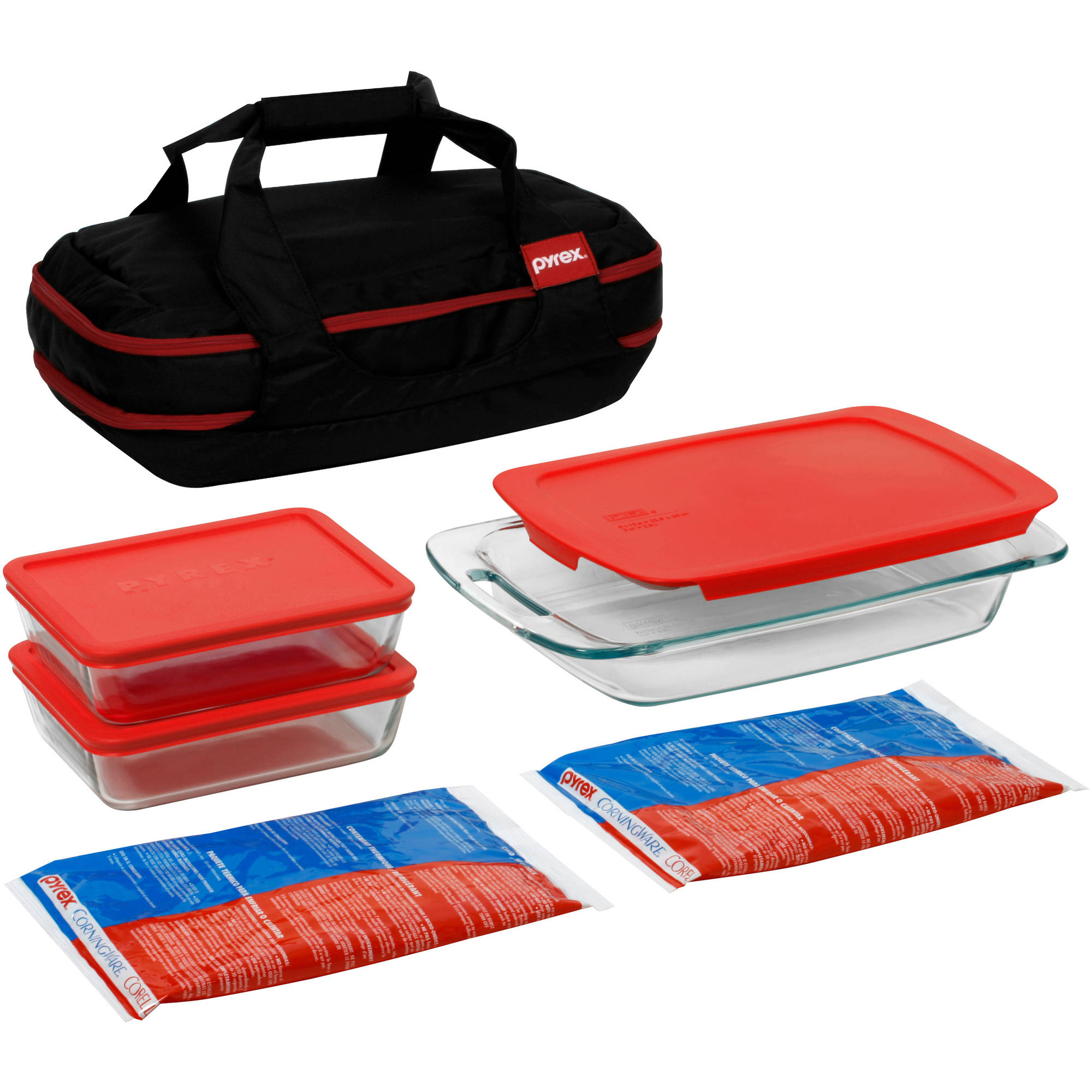 Pyrex 9-Piece Portable Double Decker Set with Carrier, Glass