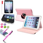 iPad Mini 3/2/1 Case, by Insten Light Pink 360 Degree Rotating Leather Case Stand for Apple iPad Mini 3 2 1+Sticker - Bundle Set
