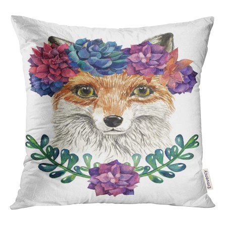 STOAG Nice Watercolor Fox in Wreath of Succulents Head Portrait Throw Pillowcase Cushion Case Cover 16x16 inch ()