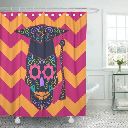KSADK Halloween Skull with Graduate Hat and Zigzag Candy Celebration Collection College Shower Curtain 66x72 inch (College Halloween)