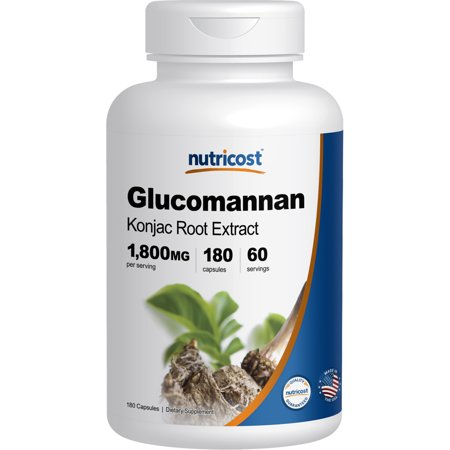 Glucomannan Fiber - Nutricost Glucomannan 1,800mg Per Serving, 180 Capsules