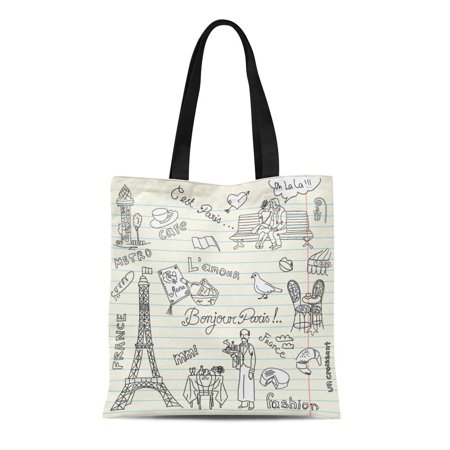 KDAGR Canvas Bag Resuable Tote Grocery Shopping Bags Red Eiffel Paris Doodles French Cuisine Flag Food Sketch Tower France Bread Benc Tote Bag