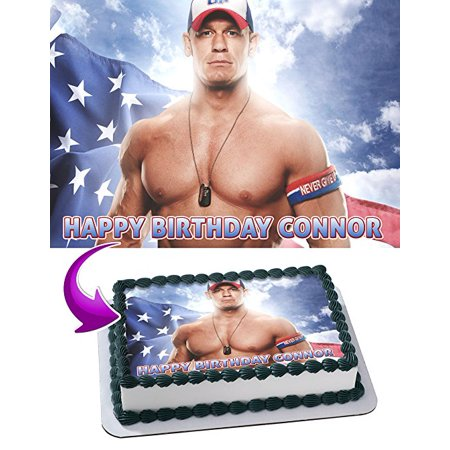 Wwe Cake Toppers (John Cena WWE Edible Cake Topper Personalized 1/2 Size Sheet Decoration Party Birthday Sugar Frosting Transfer Fondant)