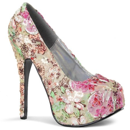 Womens Pink and Green Floral Heels with 5.75 Inch Heels and Concealed Platform