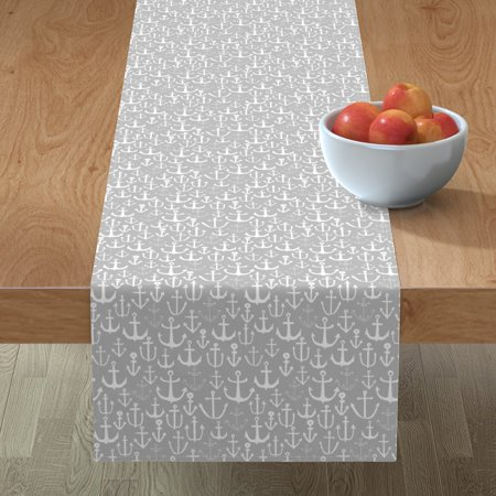 Image of Table Runner Anchor Grey Baby Nursery Nautical Anchors Cotton Sateen
