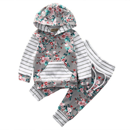 Baby Girls 2pcs Floral Hoodie Outfits Long Stripes Sleeve Top With Pant 18-24 Months