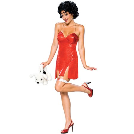 Deluxe Short Sexy Betty Boop Dress Adult Womens Costume Red Strap Slit Halloween