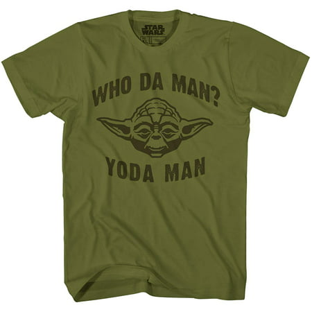 - Star Wars Who Da Man Yoda Classic Retro Vintage Movie Funny Adult Men's Graphic Tee Apparel T-Shirt