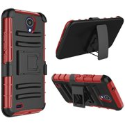 For AT&T Axia (2018) Case Advanced Hybrid Phone Cover Holster (Black/Red)