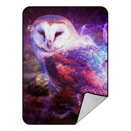 Closed Front Stable Blanket (ZKGK Owl Art Pattern Blanket Crystal Velvet Front and Lambswool Sherpa Fleece Back Throw Blanket 58x80inches )