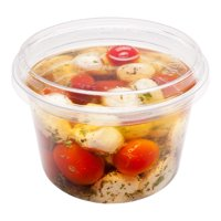 "Basic Nature 16 oz Round Clear PLA Plastic To Go Deli Container - Compostable - 4 3/4"" x 4 3/4"" x 3"" - 500 count box"