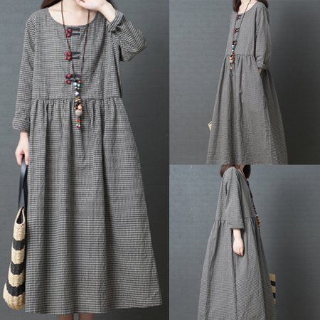 Women Long Dress Big Code Girl Japanese Style Linen Long Sleeve Checked Dress Hot Sale