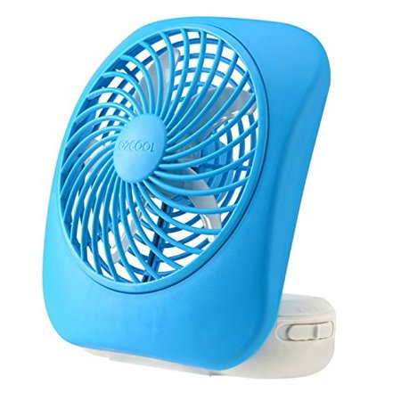O2COOL 5-Inch Portable Fan, Desktop Fan, Battery Operated Fan, 2-Speed Fan, Tilt Fan, Compact Folding Fan, D-Battery Fan, Tabletop Fan, Household Fan, Light - Battery Operated Fan And Light