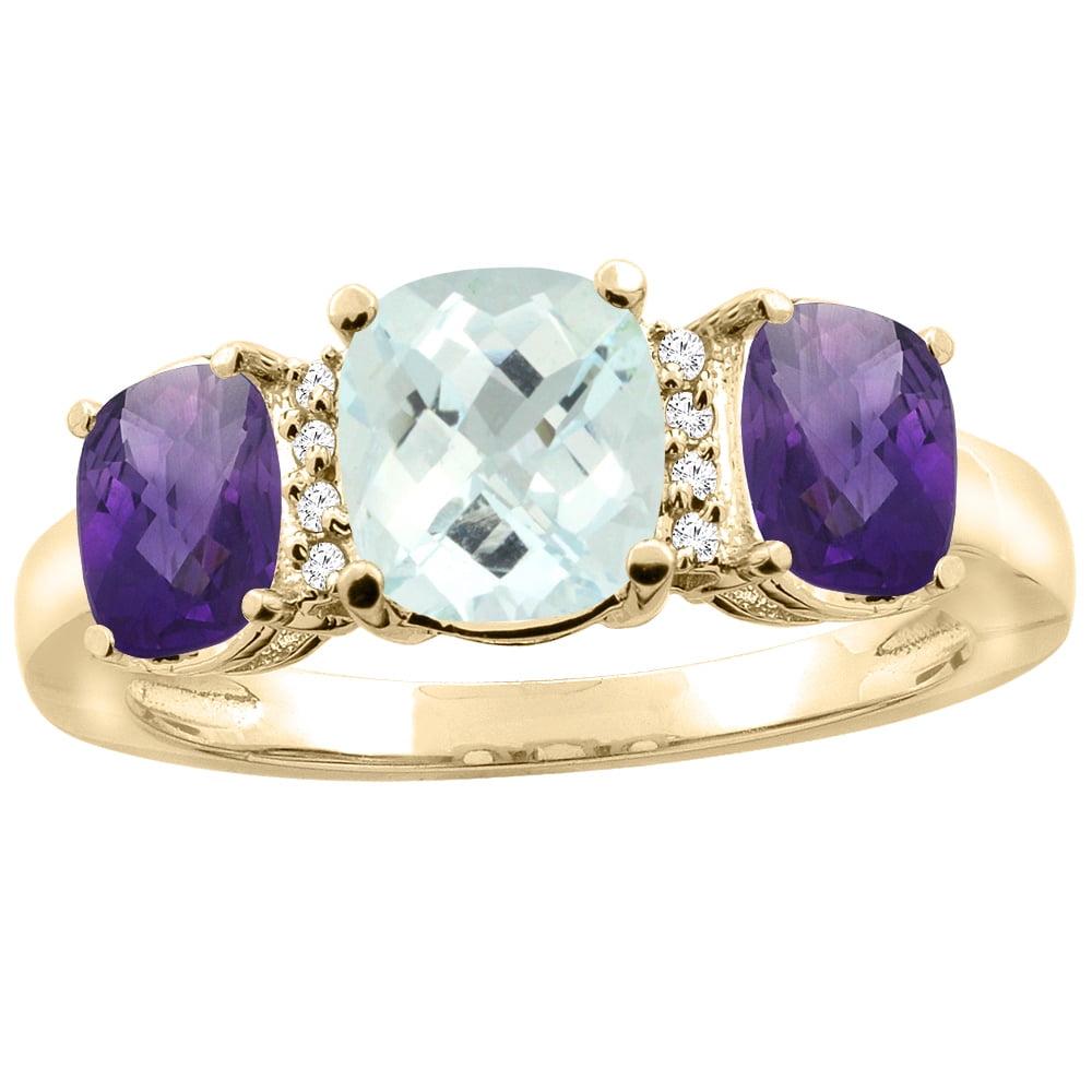 10K Yellow Gold Natural Aquamarine & Amethyst 3-stone Ring Cushion 8x6mm Diamond Accent, sizes 5 10 by WorldJewels