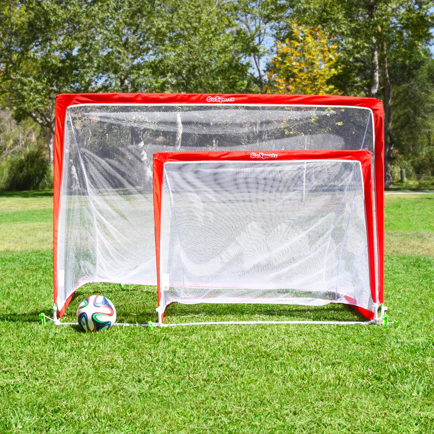 da0f38c85 GoSports 4' Portable Pop-Up Soccer Goal, Set of 2, with 6 Cones and Case -  Walmart.com