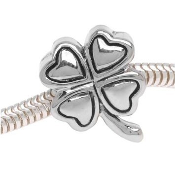 Double Sided 4-Leaf Clover Charm Bead. Compatible With Most Pandora Style Charm